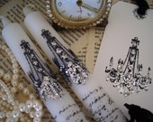 Pair of white candles and tag - CHANDELIER and FRENCH Writing with silver glitter - LOVELY