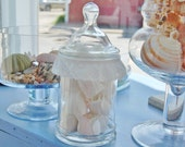 Apothecary jar with ruffle and roses, white shabby chic