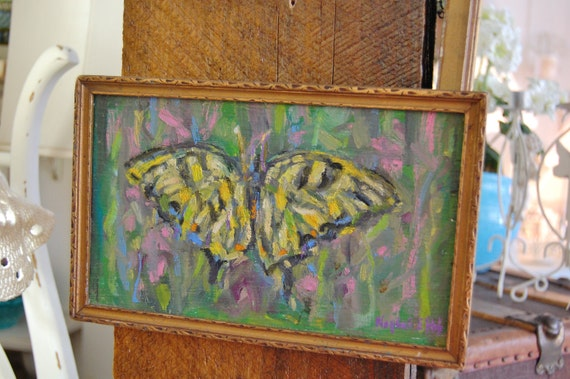 butterfly painting, original framed,