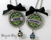Girl Camoflauge Personalized Name Bottle Cap Pendant Necklace with Bead Charm