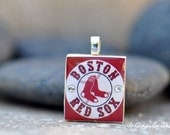 Boston RED SOX Charm / Pendant with Swarovski Crystals- made from an upcycled Scrabble Game Tile, handmade by GingerLee Designs