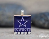 Dallas COWBOYS Football Charm / Pendant with Swarovski crystal BLING- made from an upcycled Scrabble Game Tile