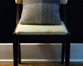 Blue and Grey Handwoven Wool Throw Pillow