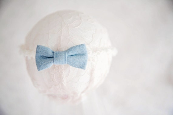 Cream Knit Headband with Denim Bow