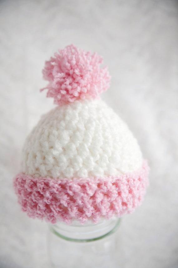 SALE Pink and White Pom Pom Newborn Hat SALE