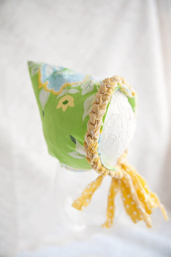 OOAK Green,Yellow and Blue Newborn Pixie Hat