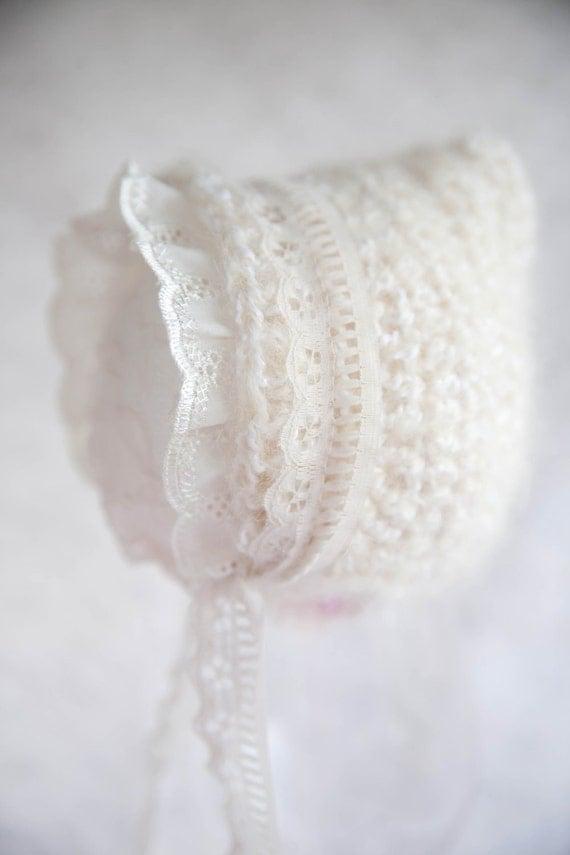 Cream Lace Newborn Pixie Hat