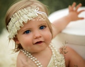 Shabby Chic Ruffled Chiffon and Diamontes Cream Vintage Skinny Headband Baby Child Girls