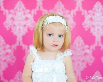 Shabby Chic Ruffled White Satin Vintage Skinny Headband Baby Child Girls