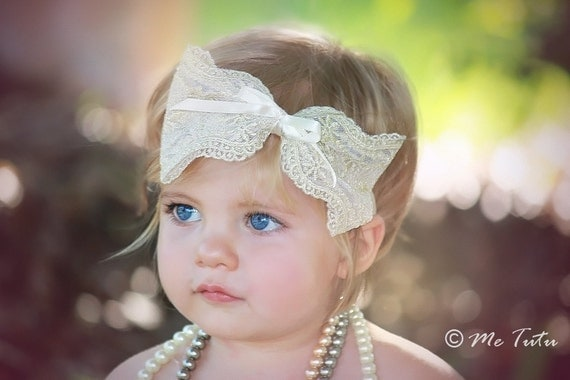 Gorgeous Gold Tan Thread Shabby Chic Vintage Large Bow Baby Childs Headband