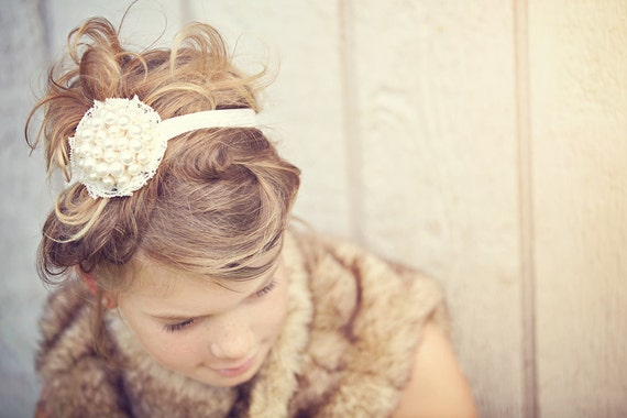Gorgeous Vintage Shabby Ivory Pearl Cluster and Lace Baby Child Girls Headband