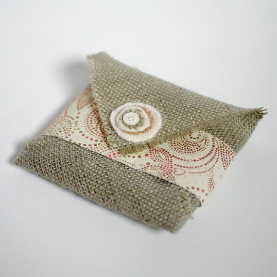 Sage Green Burlap CD Pouches (Set of 5) You choose band color.