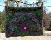 Dragonflies and Lotus Quilted Wall Hanging