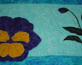 Pansy Quilted Wall Hanging