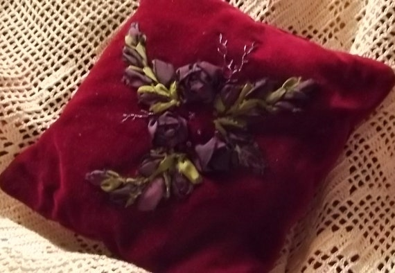 Hand Dyed Silk Ribbon Embroidered  Wine Colored Velveteen Pillow