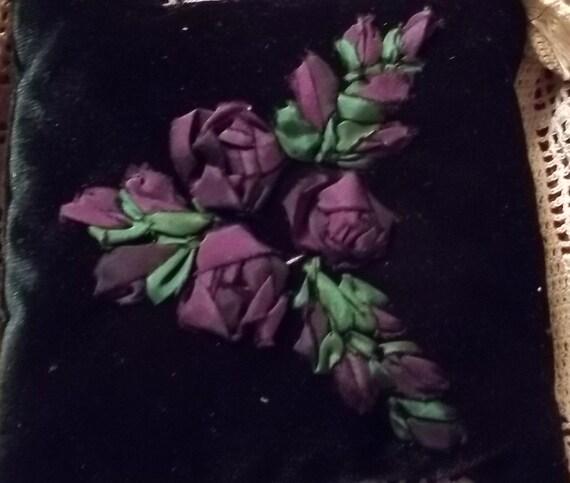 Purple Silk Ribbon Embroidered Dark Green Velvet Pillow