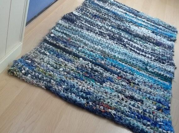 Every Blue Crocheted Rag Rug