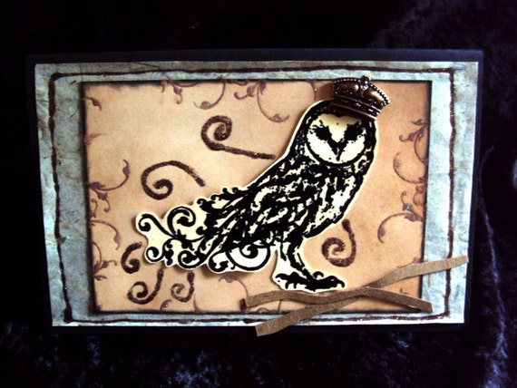 Greeting Card Victorian Crowned Owl Whimsy Magical Handmade