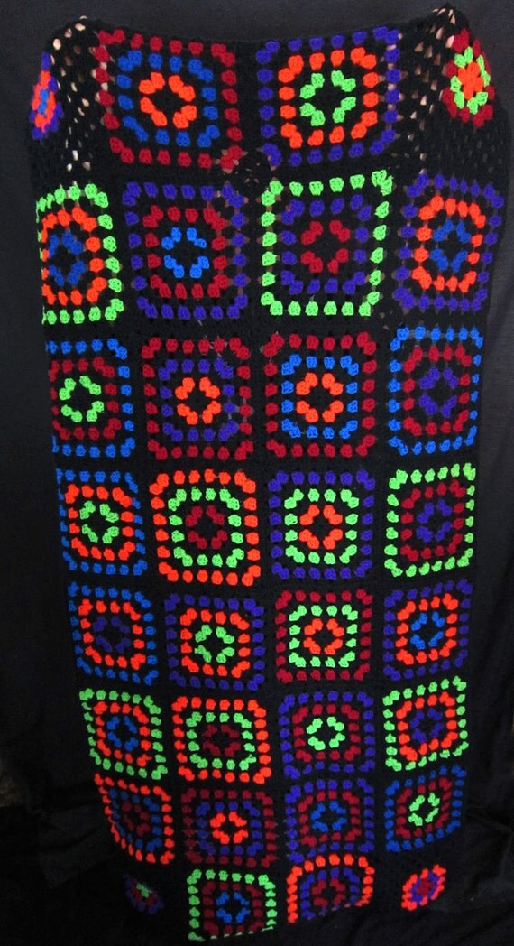 Large Crocheted Rainbow Colored Granny Square Afghan