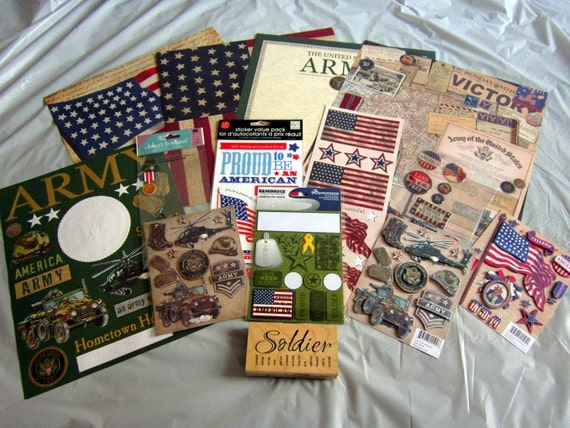 Discount Lot USA Army Military Scrapbooking Supplies
