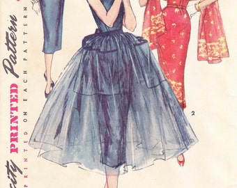 Vintage 50's Simplicity Pattern Misses Wiggle Dress 1452 - cocktail/evening/day dress Bust 30