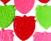 Strawberry Crayons- Set of  12 - Pink, Red and Lime Green