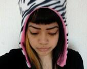 Cute ZEBRA winter hat - pink lining