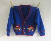 vintage blue baby boy automobile cardigan (l)