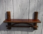 Rustic furniture wall shelf twig stained maple country cabin