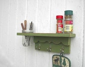 Shabby Chic Shelf Organizer Distressed Wood Hooks Vase