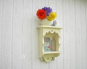 Wood wall shelf white country cottage shabby chic distressed