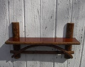 Rustic furniture twig shelf  stained primitive country cabin   20L x 4.5D