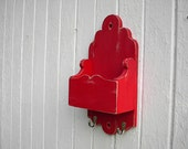 Mail organizer key hooks distressed wood red shabby chic candle box