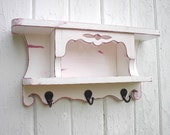 Wall shelf organizer wood key hooks coat rack shabby chic
