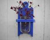 Vase jar holder wall hanging wood sconce Blue shabby chic