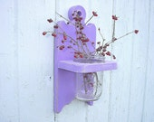 Shabby chic wall vase holder wood sconce country cottage Plum