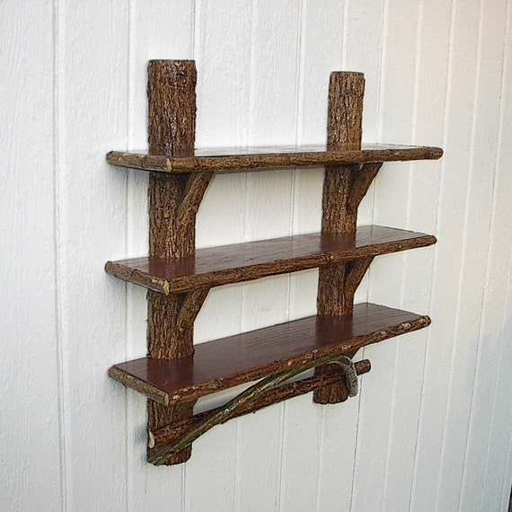 items similar to rustic furniture wall shelf twig wood. Black Bedroom Furniture Sets. Home Design Ideas