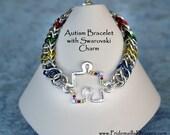 Autism Bracelet with Swarovski Puzzle Charm Half Persian Style