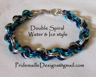 Water and Ice Bracelet - Double Spiral Weave - Anodized Aluminum Chainmaille Jewelry