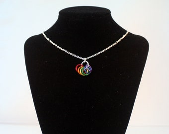Pride Rings Necklace - Rainbow Links