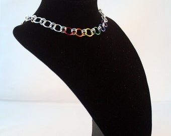 Rainbow Pride Links Choker - Anodized Aluminum Chain - Chainmaille Jewelry