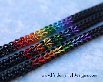 Rainbow Gay LGBT Pride Bracelet - Black Base - Anodized Aluminum Chainmaille Jewelry