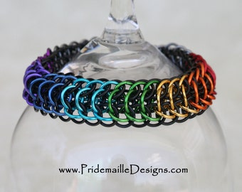 Rainbow Pride Dragon's back Bracelet (Reversible)  -  Aluminum Chainmaille Jewelry