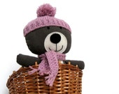 Plushie bear teddy handmade soft cuddly toy for children toddlers gray brown corduroy with mauve knitted hat scarf 25 cm 9,8 inch