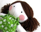 Rag doll toy baby girl cuddly soft plushie children handmade white green floral dress clothes 11 inch