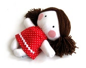 Rag doll toy plushie baby girl white red polka dotted dress clothes cuddly soft child friendly dress clothes 11 inch