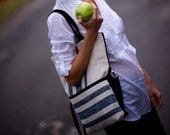 Tote bag messenger shoulder bag handbag upcycled burlap/hessian school bag navy blue unisex man woman 3 three way black canvas