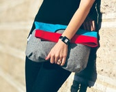 Handbag clutch foldover fold over color block color blocking recycled grey gray wool woolen red turquoise light blue