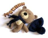 "RESERVED for Audrey - Teddy bear plushie handmade rag doll toy stuffed animal plush safe brown beige blue 25 cm 9.8"""