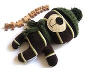"Teddy bear plushie handmade rag doll toy stuffed animal plush soft softie toddler child baby safe brown olive green striped 25 cm 9.8"""